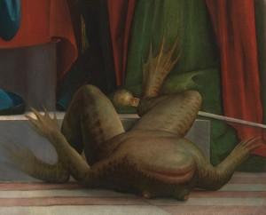 Il rospo-Lucifero nella pala (già trittico) dell'Ambrosiana