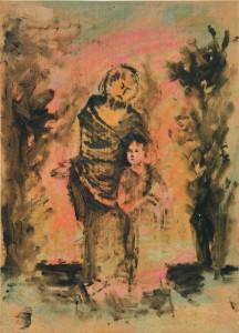 Pier Paolo Pasolini, San Giuseppe con Gesù Bambino, 1942, olio su cartone