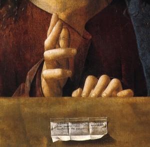 Antonello, le mani del Cristo benedicente, Londra, National Gallery