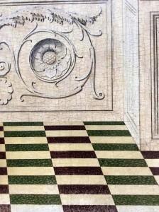 Braccesco, particolare del pavimento e della balaustra dell'Annunciazione