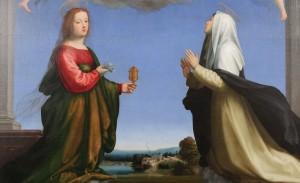 Fra Bartolomeo, Dio Padre con Santa Maria Maddalena e Santa Caterina, particolare